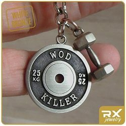 Fitness Keychain WOD Killer Weight Plate Pendant & Dumbbell Сharm Bronze Workout Key Chain R ...