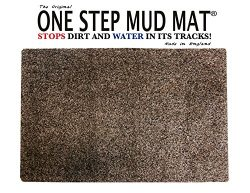 One Step Mud Mat Original MADE IN ENGLAND 31W x 47L Large Brown Cotton Microfiber Indoor Floor M ...