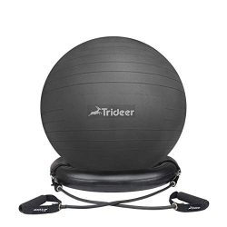 Trideer Exercise Ball Chair, Stability Ball with Ring & Pump, Flexible Seating, Improves Bal ...