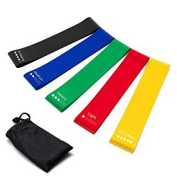 Cozyfree Resistance Loop Exercise Bands,Set of 5 Fitness Loops for Home Workout, Pilates, Yoga,  ...