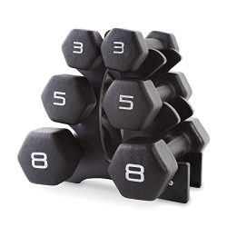 CAP Barbell Neoprene Dumbbell Set with Rack, 32-Pound, Black