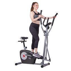 Body Rider BRM3635 Elliptical Trainer and Exercise Bike with Seat and Heart Rate Pulse Sensors D ...