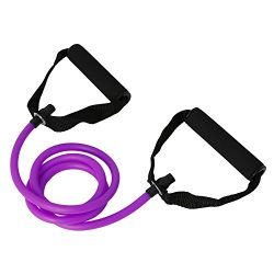 ULKEME Latex Elastic Resistance Band Pilates Tube Pull Rope Gym Yoga Fitness Equipment Purple