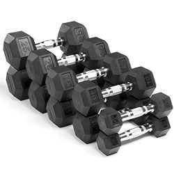 XMark Premium Quality Rubber Coated Hex Dumbbells with Chrome Contoured Handles – 150 lb set