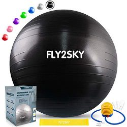 FLY2SKY Exercise Ball Fitness Stability Ball Workout Yoga Ball Chairs for Office Home Anti-Burst ...