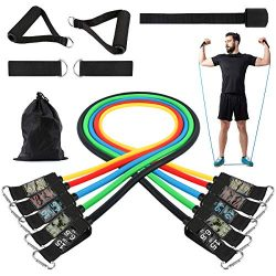 Turefans Resistance Bands Set, 11PC Exercise Bands Workout Bands with Door Anchor, Handles, Ankl ...