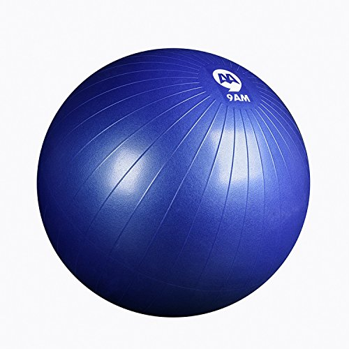 9AM Anti Burst Exercise Ball for Yoga Core Strength Balance Stability Fitness and Desk Chair/Sli ...