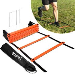 JBM Agility Ladder Adjustable Training Ladder Carry Bag 12/18 / 20 Rung, Perfect Speed Exercise  ...