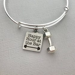 Happy Hour at the Bar workout jewelry dumbbell weight lifting fitness bangle charm bracelet