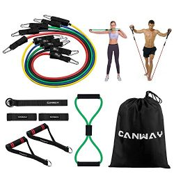 Canway 12PC Premium Resistance Bands Set, Workout Bands – with Booty Belt, Door Anchor, Ha ...