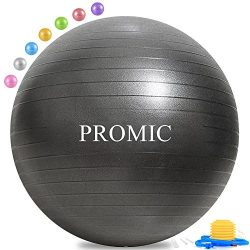 PROMIC Professional Grade Static Strength Exercise Stability Balance Ball with Foot Pump,65cm,Black