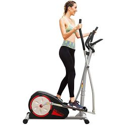 ANCHEER Elliptical Machine Trainer Magnetic Smooth Quiet Driven LCD Monitor Pulse Rate Grips (Black)