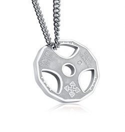 AMGJ Mens Fashion Stainless Steel Fitness Gym Dumbbell Weight Plate Barbell Chain Pendant Necklace
