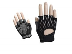 Junson Working Women Fingerless Weightlifting Gloves Half-finger Gym Gloves for Dumbbells Weight ...