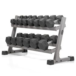 XMark's Two Tier Heavy Duty Steel Dumbbell Rack Angled Shelves Fully Loaded 380 lbs XMark& ...