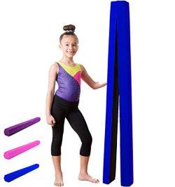 Gymnastics Balance Beam: Low Profile, Soft, Folding Floor Gymnastics Equipment for Kids | Suede  ...
