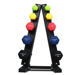 Fitness Republic Neoprene Dumbbells Pairs (3lb, 5lb, 8lb, 10lb, 12lb) with 5 Tier Rack