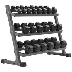 XMark's 550 lb. Premium Hex Dumbbell Set (10 Pair: 5 lb to 50 lb Pairs) with XMark's ...