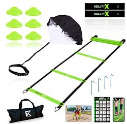 Fitness Kings 20FT Agility Ladder Speed and Agility Training Set with Running Parachute & Lo ...
