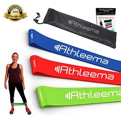 Athleema Set of 3 Loop Resistance Bands (Light, Medium, Heavy) 10″ X 2″