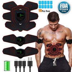 NIKE ABS Stimulator Muscle Toner, Abdominal Toning Belt Muscle Smart EMS Body Trainer, USB Recha ...