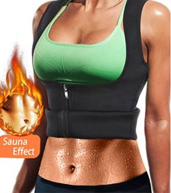Women Neoprene Sauna Sweat Waist Trainer Vest with Zipper for Weight Loss Gym Workout Body Shape ...