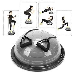 PEXMOR Yoga Half Ball Balance Trainer Exercise Ball Resistance Band Two Pump Home Gym Core Train ...