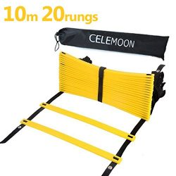 CELEMOON Upgraded Material 20-Rungs Agility Speed Training Ladder + Black Carry Case, with Conne ...