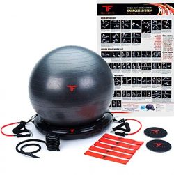 ThinkFit Core System Yoga Exercise Ball Resistance Band Core Sliders Resistance Loop Bands Poste ...