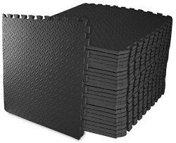 BalanceFrom Puzzle Exercise Mat with EVA Foam Interlocking Tiles (Black)