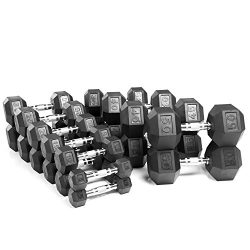 XMark Fitness Rubber Hex Dumbbell Set (5-50 -Pounds)