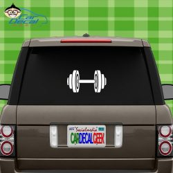 Car Decal Geek Dumbbell Bodybuilding Muscle Vinyl Decal Sticker Bumper Cling for Car Truck Windo ...