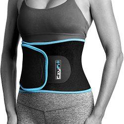 EzyFit Waist Trimmer Premium Weight Loss Ab Belt for Women & Men Exercise Workout. Sweat Enh ...