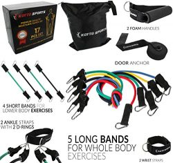 Koyto Sports 17 Pieces Set – Resistance Bands Set of 5 Long Exercise Bands and 4 Short Ank ...