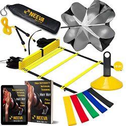 NEEVA Speed Agility Training Kit- Set of Premium Agility Ladder, 10 Disc Cones, Resistance Runni ...