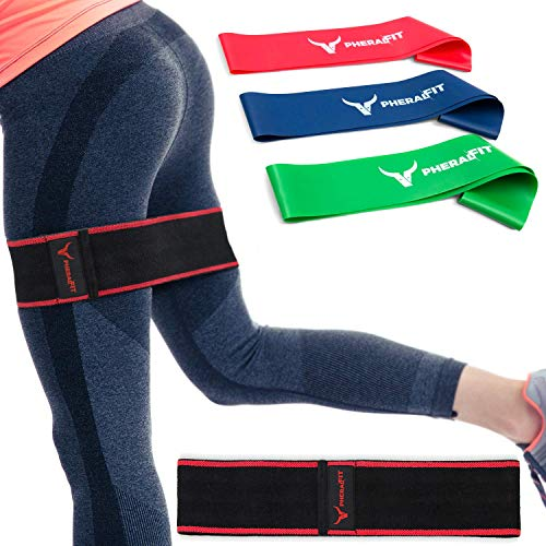 PHERAL FIT Hip Bands – Elastic Fabric Band – Booty & Glute Exercise Band + 3 Re ...