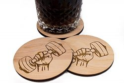 4 Unfinished Weightlifter Coaster – Set of 3.5″ Wood Health Fitness Barware Gift Set ...
