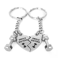 Swole Sisters and Mini Dumbbell Keychain Set – Stainless Fitness Charms and Gift Idea for  ...