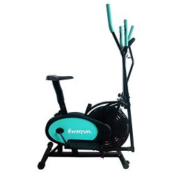 Harvil Elliptical Cross Trainer and Exercise Bike 2 in 1 with Pulse Rate Sensor Grips and Tensio ...