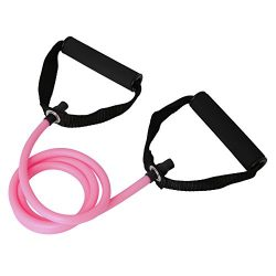 ULKEME Latex Elastic Resistance Band Pilates Tube Pull Rope Gym Yoga Fitness Equipment Pink