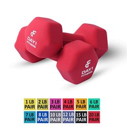 Day 1 Fitness Neoprene Dumbbell Pairs 20 Pounds – Non-Slip, Hexagon Shape, Color Coded, Ea ...