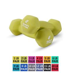 Day 1 Fitness Neoprene Dumbbell Pairs 2 Pounds – Non-Slip, Hexagon Shape, Color Coded, Eas ...