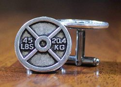 Weightlifting Cufflinks 45 lbs 20.4 kg, bodybuilding cuffs, body builder cuff links, excersize g ...