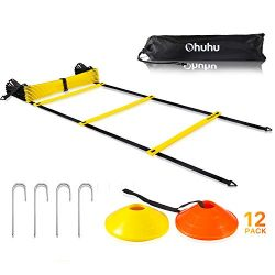 Ohuhu Agility Ladder Training Set – 12 Rung Speed Ladder with 12 Field Cones and 4 Stakes, ...