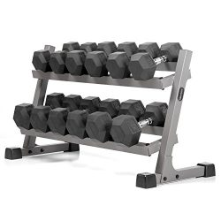 XMark's Two Tier Heavy Duty Steel Dumbbell Rack with Angled Shelves Fully Loaded with 450  ...