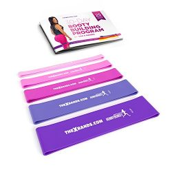 The x Bands Extra Thick Exercise Resistance Bands – Set of 5 Loop Booty Bands with Guide & ...