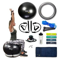 Gearrific Exercise Ball, Base & Resistance Bands Set + Free Pump, Jump Rope, Pilates Bands,  ...