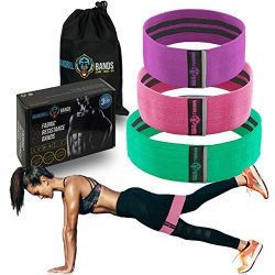 Fabric Resistance Bands (3 Pack) – No Slip – Booty Hip Bands for Legs, Glutes, Shoul ...