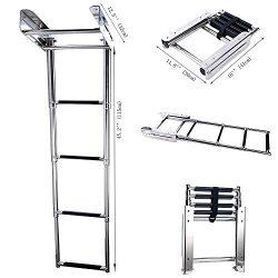 Amarine-made 4-step Stainless Steel Under Platform Slide Mount Boat Boarding Telescoping Ladder  ...
