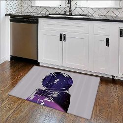 Machine-Washable Large Bathroom Mat Cute Alien with Circle Saucer in Star Cluster Elliptical Jou ...